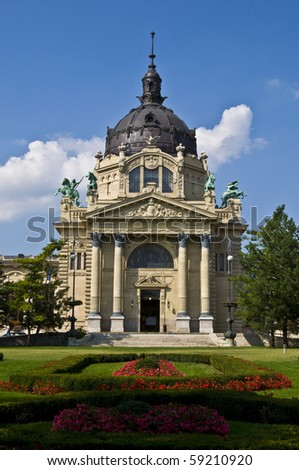exterior of the Szechenyi Fürdo in Budapest on a sunny day - stock photo