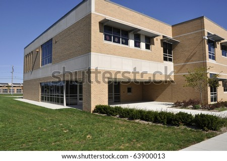Exterior of the Whitehall Middle School in Whitehall, Pennsylvania. - stock photo