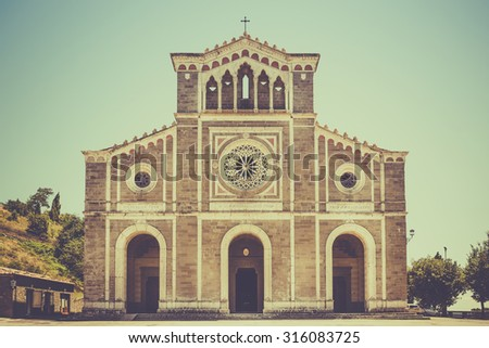 Exterior of tuscan San Margherita church in Cortona town, Italy - stock photo