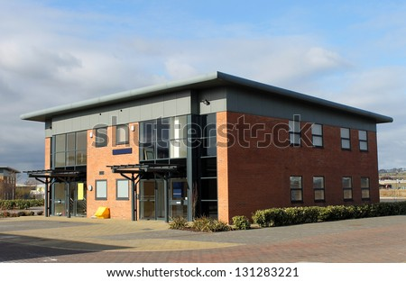 Exterior of vacant office building on modern business park, Scarborough, England.