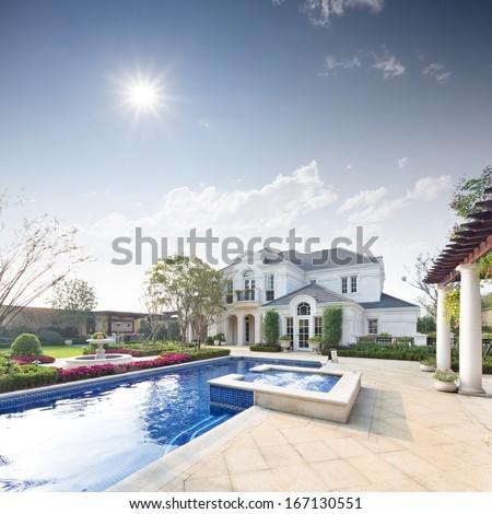 exterior of villa - stock photo