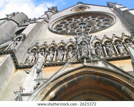 exterior outdoor photo of a church cathedral - stock photo