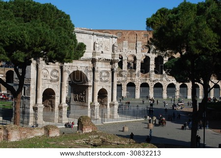 Exterior Profile of the Arch of Constantine and the Roman Colosseum, Rome, Italy - stock photo