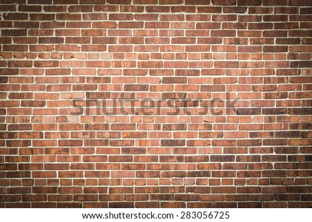 Exterior Red Brick Wall with Vignette - stock photo