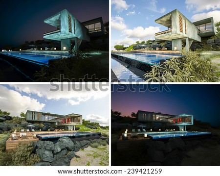 Exterior rendered image by 3d, conceptual design as house on the beach, presented by using water like mirror for make reflection on water in 2 time, Day view and night view - stock photo