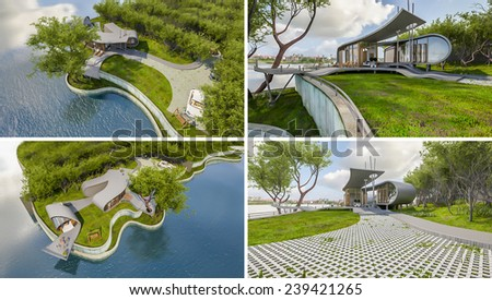Exterior rendered image by 3d, conceptual design as ribbon house, presented by using water like mirror for make reflection on water - stock photo