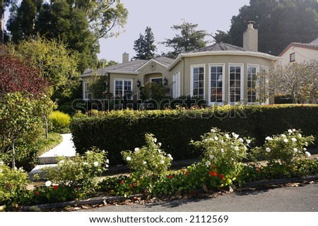 Exterior shot of a classic home located on the Peninsula of California south of San Francisco. - stock photo