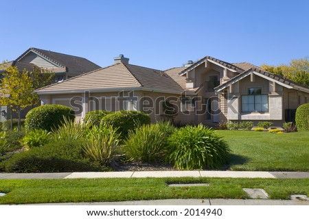Exterior shot of a custom home built in the Napa Valley of California. - stock photo