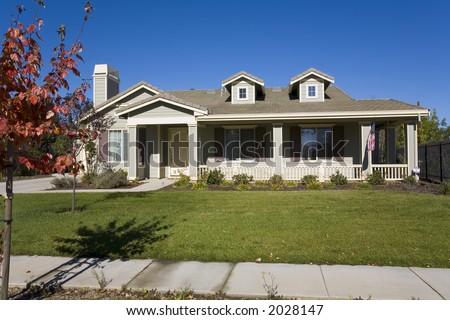 Exterior shot of a custom home in Napa, CA. - stock photo