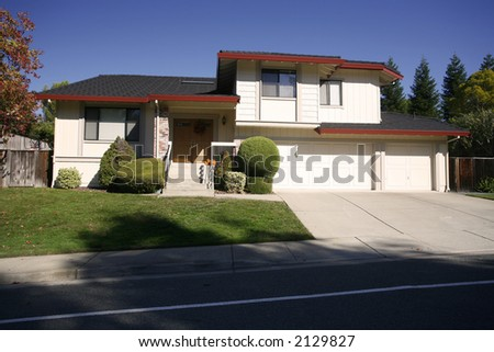 Exterior shot of a home in the east Bay area of Northern California in a city called Martinez. - stock photo