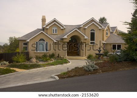 Exterior shot of a luxurious home located in Northern California. - stock photo