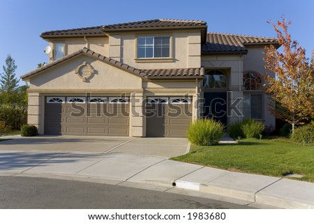 Exterior shot of a recently constructed home in Northern California. - stock photo
