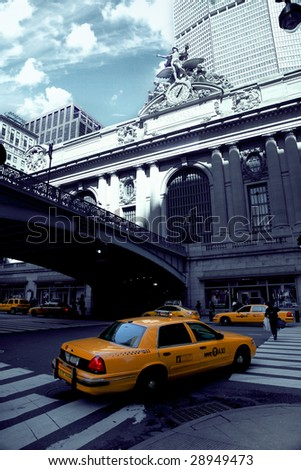 Exterior shot of a taxi outside Grand central station new york city - stock photo