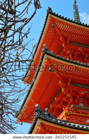 Exterior shot of roof Japan temple - stock photo