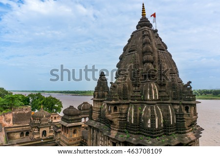 Exterior shots of the scenic tourist landmark Maheshwar fort in Madhaya pradesh in India. This monument on the banks of the narmada houses many temples