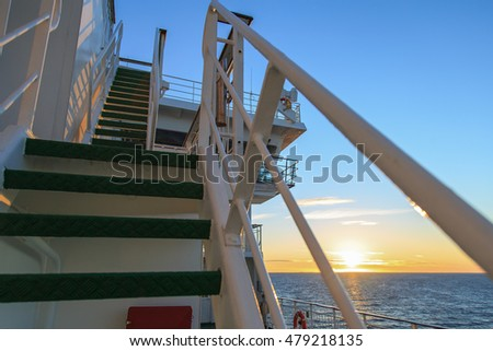 exterior stairs on the ship at sunset