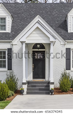 Exterior view of a black front door