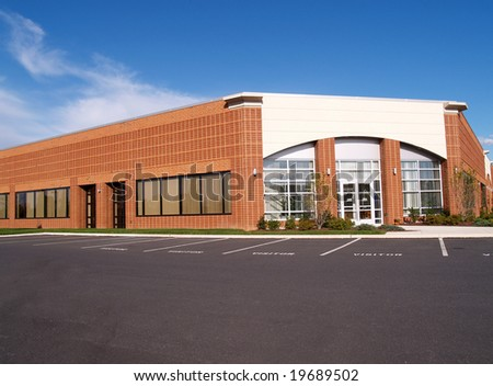 exterior view of a building in a modern office complex - stock photo