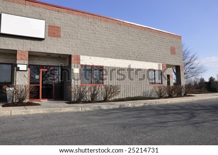exterior view of a small modern office building - stock photo