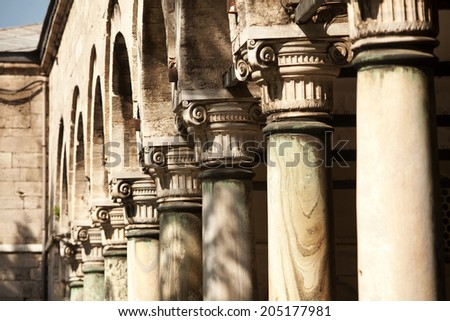 Exterior view of architecture of Topkapi Palace Istanbul - stock photo