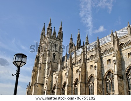 Exterior view of canterbury cathedral - stock photo