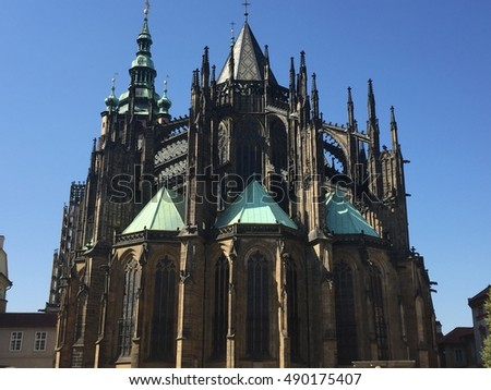 Exterior View Of Choir Gothic St Vitus Cathedral In Prague Castle Czech Republic