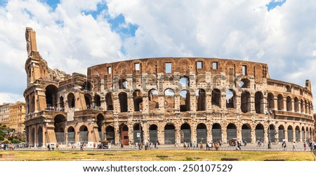 Exterior view of colosseum in Rome, Italy - stock photo