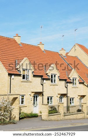 Exterior View of Houses on a Street in a Typical English Town - stock photo