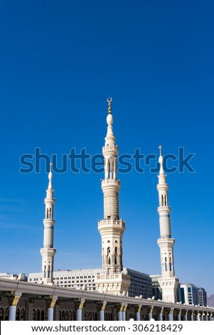Exterior view of minarets of a mosque taken off the compound. - stock photo