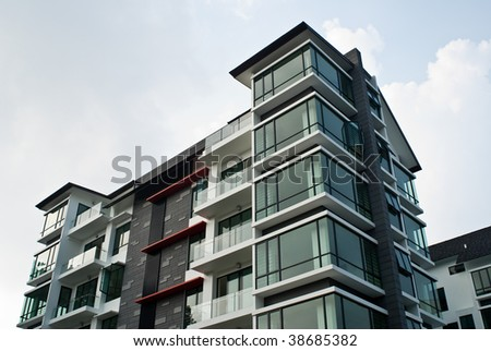 exterior view of modern city house building in Singapore - stock photo