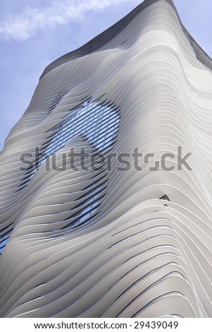 Exterior view of modern high-rise apartment building in Chicago. - stock photo