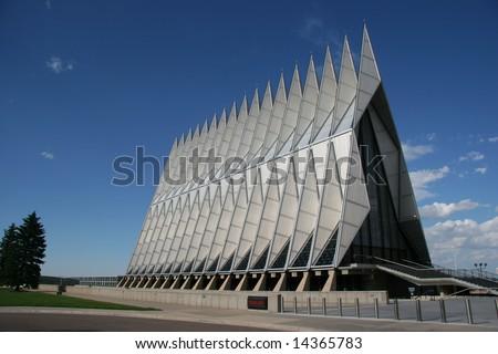 Exterior view of the Air Force Academy Chapel, Colorado Springs, Colorado, USA - stock photo