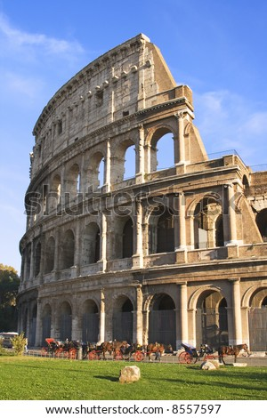 Exterior view of the Colosseum in Rome, Italy. - stock photo