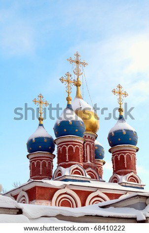 Exterior view of the orthodox cupola in winter - stock photo