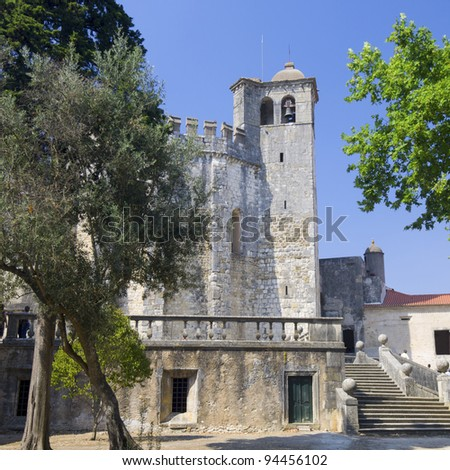 exterior view of the Templar convent  of Christ, Tomar, Ribatejo, Portugal - stock photo