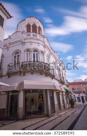 Exterior view of the typical portuguese architecture of the Algarve older buildings. - stock photo