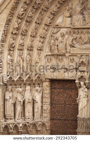 Exterior views of the Notre Dame Cathedral, Paris, France