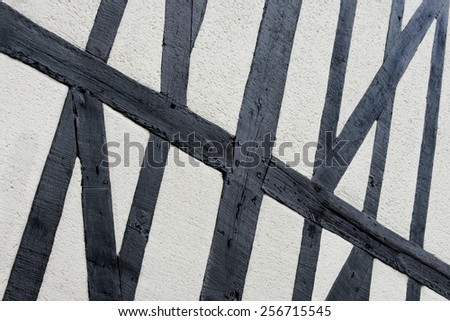 Exterior wall of a half-timbered Norman house, Normandy, France - stock photo