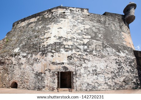 Exterior wallsat Fort San Felipe del Morro, San Juan, Puerto Rico - stock photo