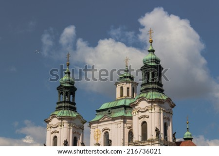 Exteriors of Church of St. James the Greater in Old Town in Prague - stock photo