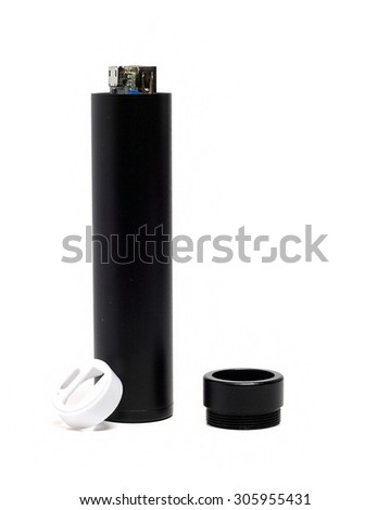 external battery in a black metal cylinder