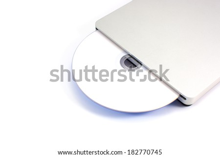 External CD DVD drive isolated on white background - stock photo