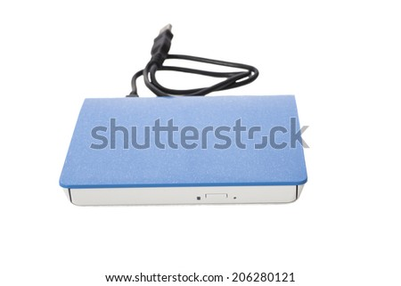 External DVD a drive with disk isolated on a white background