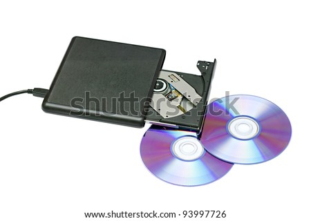 external dvd drive and disks on a white background - stock photo