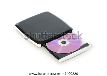 External dvd drive isolated on the white - stock photo