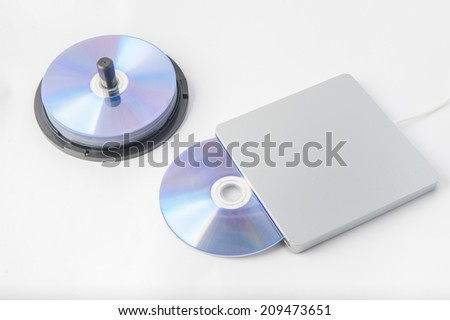 external DVD writer with DISC - stock photo