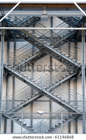 external fire escapes of a modern building