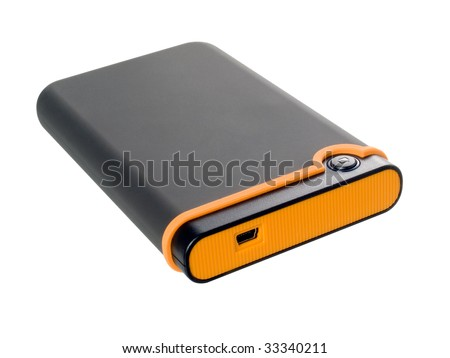 External hard disk drive on white background (isolated with path). - stock photo