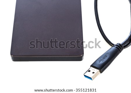 External hard disk isolated on white background - stock photo