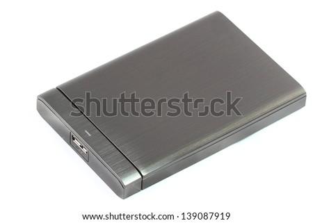 External hard disk on white background - stock photo